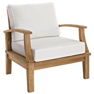 Marina Natural and White Outdoor Patio Teak Armchair