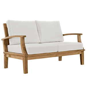 Marina Natural and White Outdoor Patio Teak Loveseat