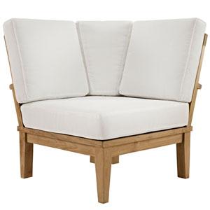 Marina Natural and White Outdoor Patio Teak Corner Sofa