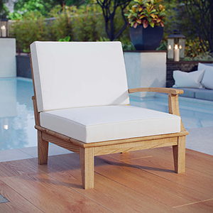 Marina Outdoor Patio Teak Right-Facing Sofa in Natural White