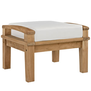 Marina Natural and White Outdoor Patio Teak Ottoman