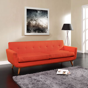 Engage Upholstered Sofa in Atomic Red