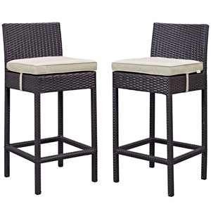 Lift Bar Stool Outdoor Patio Set of 2 in Espresso Beige