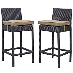 Lift Bar Stool Outdoor Patio Set of 2 in Espresso Brown