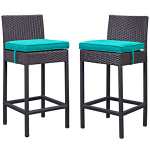 Lift Bar Stool Outdoor Patio Set of 2 in Espresso Turquoise