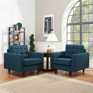 Empress Armchair Upholstered Set of 2 in Azure