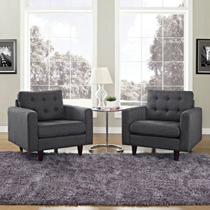 Empress Armchair Upholstered Set of 2 in Gray