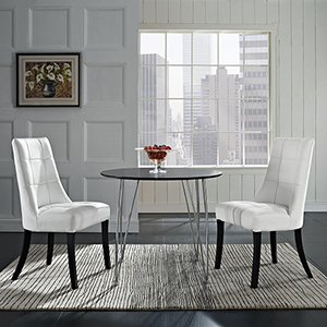 Noblesse Vinyl Dining Chair Set of 2 in White