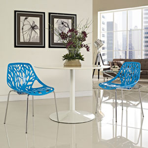 Stencil Dining Side Chair Set of 2 in Blue