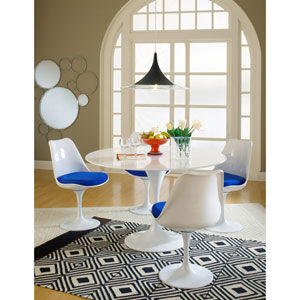 Lippa Dining Side Chair Fabric Set of 4 in Blue