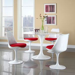 Lippa Dining Side Chair Fabric Set of 4 in Red