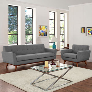 Engage Armchair and Sofa Set of 2 in Gray