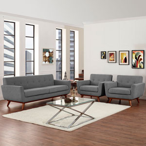 Engage Armchairs and Sofa Set of 3 in Gray