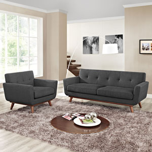 Engage Armchair and Loveseat Set of 2 in Gray