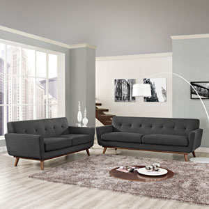 Engage Loveseat and Sofa Set of 2 in Gray