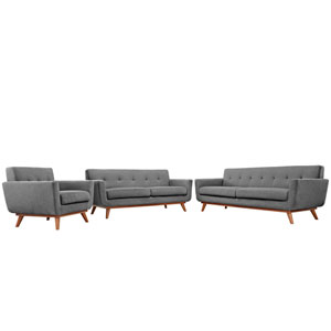 Engage Sofa Loveseat and Armchair Set of 3 in Gray