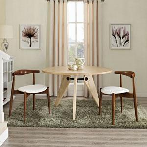 Stalwart Dining Side Chairs Set of 2 in Dark Walnut White