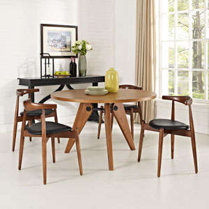 Stalwart Dining Side Chairs Set of 4 in Dark Walnut Black
