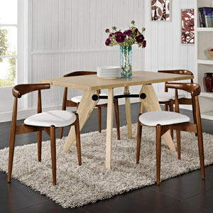 Stalwart Dining Side Chairs Set of 4 in Dark Walnut White