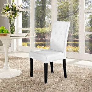Confer Dining Vinyl Side Chair in White