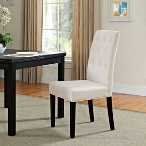 Confer Dining Fabric Side Chair in Beige