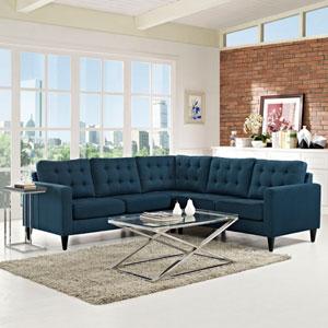 Empress 3 Piece Fabric Sectional Sofa Set in Azure
