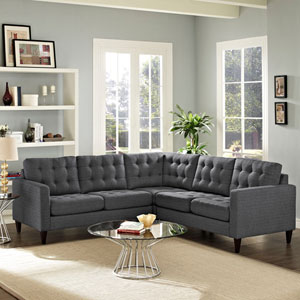 Empress 3 Piece Fabric Sectional Sofa Set in Gray