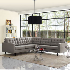 Empress 3 Piece Fabric Sectional Sofa Set in Granite