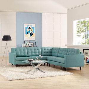 Empress 3 Piece Fabric Sectional Sofa Set in Laguna