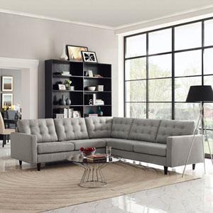 Empress 3 Piece Fabric Sectional Sofa Set in Light Gray