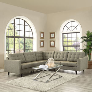Empress 3 Piece Fabric Sectional Sofa Set in Oatmeal