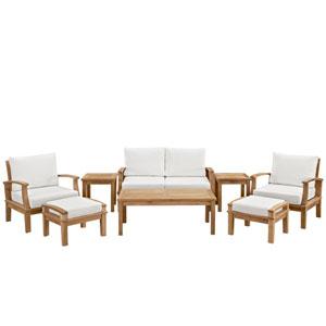 Marina 8 Piece Outdoor Patio Teak Sofa Set in Natural White