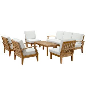 Marina 8 Piece Natural and White Outdoor Patio Teak Sofa Set