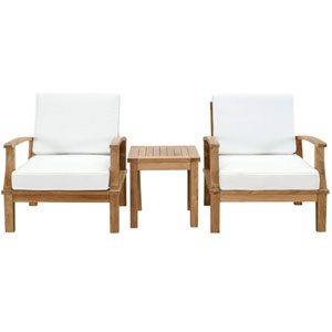 Marina 3 Piece Natural and White Outdoor Patio Teak Sofa Set