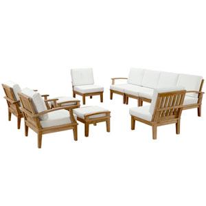 Marina 10 Piece Natural and White Outdoor Patio Teak Sofa Set
