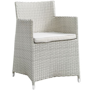 Junction Gray and White Outdoor Patio Armchair