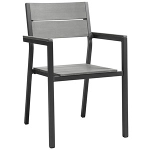 Maine Dining Brown and Gray Outdoor Patio Armchair