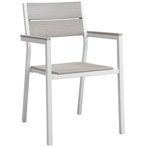 Maine Dining White and Gray Outdoor Patio Armchair