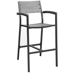Maine Brown and Gray Outdoor Patio Bar Stool