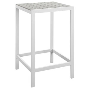 Maine White and Gray Outdoor Patio Bar Table
