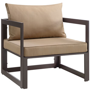 Fortuna Brown and Mocha Outdoor Patio Armchair