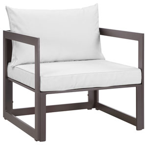 Fortuna Brown and White Outdoor Patio Armchair