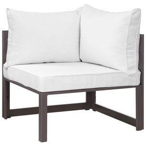 Fortuna Corner Brown and White Outdoor Patio Armchair
