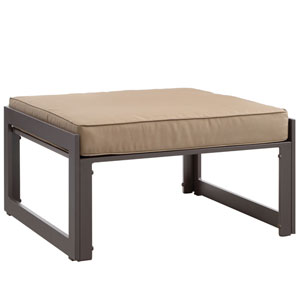Fortuna Brown and Mocha Outdoor Patio Ottoman