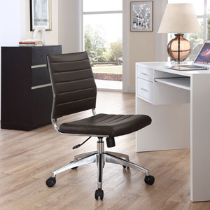 Jive Armless Mid Back Office Chair in Brown