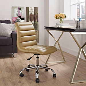 Ripple Armless Mid Back Office Chair in Tan