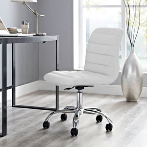 Ripple Armless Mid Back Office Chair in White