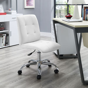 Prim Armless Mid Back Office Chair in White