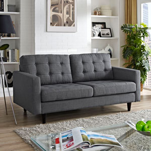 Empress Upholstered Loveseat in Gray