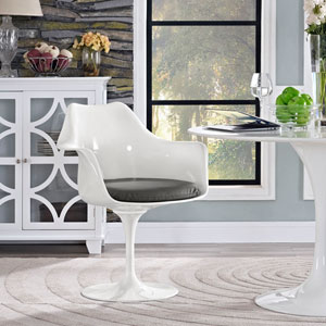 Lippa Dining Vinyl Armchair in Gray